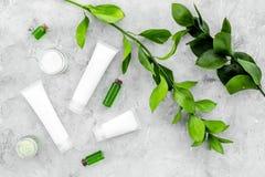 Cosmetici d'idratazione ipoallergenici per cura del fronte Lozione, crema, olio sulla vista superiore del fondo grigio fotografie stock