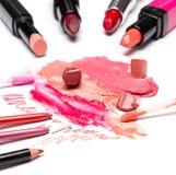 Cosmetici di trucco del labbro Fotografia Stock Libera da Diritti