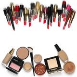 Cosmetici di trucco messi Fotografia Stock
