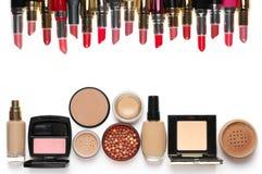 Cosmetici di trucco messi Immagine Stock
