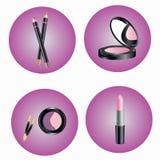 Cosmetici differenti nelle icone rotonde Ombre, polvere, matita, rossetto Fotografia Stock Libera da Diritti