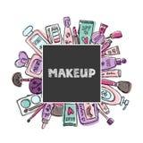 Cosmetici disegnati a mano messi Bellezza e trucco Fotografia Stock
