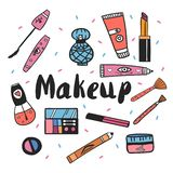 Cosmetici disegnati a mano messi Illustrazione illustrazione di stock