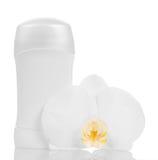 Cosmetici e fiore dell'orchidea Fotografia Stock