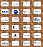 Cosmetici e logos e marche famosi superiori di trucco Immagine Stock