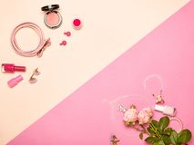 Cosmetici ed accessori del ` s delle donne alla moda Immagini Stock