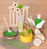 Cosmetici ed accessori di cura del corpo e della stazione termale Fotografia Stock