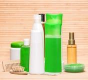 Cosmetici ed accessori di cura di capelli Immagini Stock