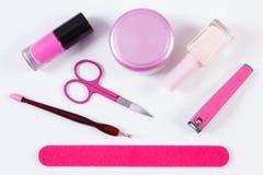 Cosmetici ed insieme degli strumenti di pedicure o del manicure, concetto di cura dell'unghia Fotografia Stock Libera da Diritti