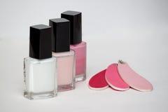 Cosmetici ed insieme del manicure, smalto con l'archivio Immagini Stock