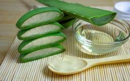 Cosmetici naturali da aloe vera, da crema, da oli e da tutto per la pelle Immagine Stock Libera da Diritti