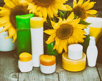 Cosmetici naturali di cura del corpo con i girasoli Immagini Stock