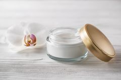 Cosmetici naturali ed organici di cura del corpo e del fronte di trattamento fotografia stock libera da diritti