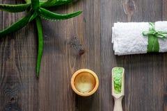Cosmetici organici di vera dell'aloe Foglie di vera dell'aloe e sale della stazione termale sulla vista superiore del fondo di le Immagine Stock Libera da Diritti