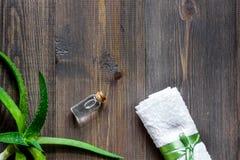 Cosmetici organici di vera dell'aloe L'aloe vera copre di foglie e lozione della stazione termale sul copyspace di legno di vista Fotografie Stock Libere da Diritti