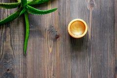 Cosmetici organici di vera dell'aloe L'aloe vera copre di foglie e lozione della stazione termale sul copyspace di legno di vista Fotografia Stock Libera da Diritti