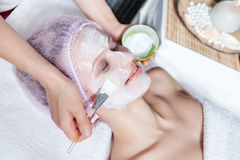 Cosmetician applying facial mask to the face. Of young beautiful woman in spa salon royalty free stock image