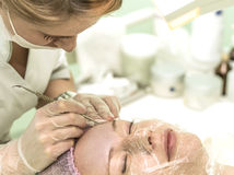 The cosmetician in a beauty salon Royalty Free Stock Photo