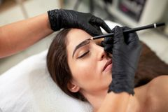 Cosmetician preparing to make a legit appearance of naturally full brows. On the face of a pretty young woman royalty free stock photo