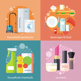 Cosmetico dell'alimento delle bevande e della famiglia Fotografia Stock Libera da Diritti