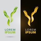 Cosmetico e logo di servizi di bellezza con le mani organiche plantlike Fotografia Stock