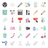 Cosmetico ed insieme dell'icona di bellezza, icona piana royalty illustrazione gratis