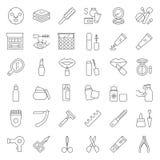 Cosmetico ed insieme dell'icona di bellezza, stile del profilo illustrazione di stock