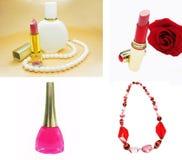Cosmetico messo per le perle del rossetto di trucco Fotografie Stock