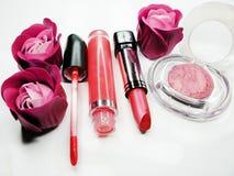 Cosmetico stabilito del gruppo dei lipgloss degli ombretti del rossetto per la molestia di trucco Immagini Stock Libere da Diritti