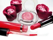 Cosmetico stabilito del gruppo dei lipgloss degli ombretti del rossetto per la molestia di trucco Fotografie Stock