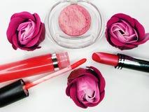 Cosmetico stabilito del gruppo dei lipgloss degli ombretti del rossetto per la molestia di trucco Immagine Stock Libera da Diritti