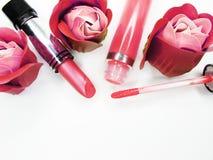 Cosmetico stabilito del gruppo dei lipgloss del rossetto per stile di modo di trucco Fotografia Stock Libera da Diritti