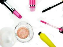 Cosmetico stabilito del gruppo della mascara dei lipgloss degli ombretti del rossetto per il mak Fotografie Stock