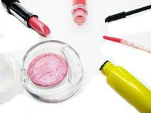 Cosmetico stabilito del gruppo della mascara dei lipgloss degli ombretti del rossetto per il mak Fotografia Stock