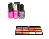 Cosmetics. Nail polish with eye liner tray stock images