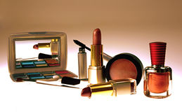 Cosmetics. Makeup, eyeshadow, brushes,nailpolish, lipstick and mascara stock images
