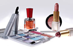 Cosmetics. Makeup, eyeshadow, brushes, nailpolish, lipstick and mascara royalty free stock photos
