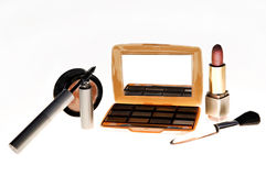 Cosmetics. Makeup, eyeshadow, brushes, lipstick and mascara royalty free stock images