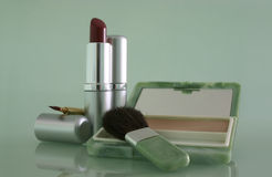 Cosmetics. Everyday essentials in a woman's make-up regime stock image