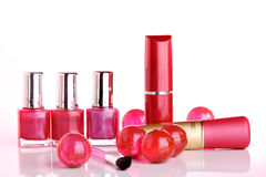 Cosmetics. Group of red cosmetics ok white Royalty Free Stock Photos