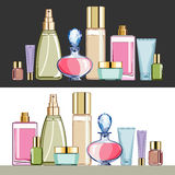 Cosmetics. Set of cosmetics packaging, bottles and containers for beauty care, on white or dark background, objects are grouped, no gradient, vector illustration Royalty Free Stock Photography