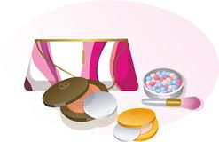 Cosmetics. Bag cosmetics makeup luxury powder Royalty Free Stock Photo