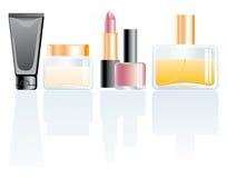 Cosmetics. Cream, perfume, lipstick and nail polish Royalty Free Stock Photos