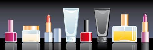 Cosmetics. Cream, perfume, lipstick and nail polish Stock Photo