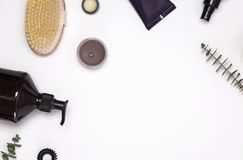 Cosmetics and accessories for hair and body care. On the white background Royalty Free Stock Photo