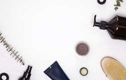 Cosmetics and accessories for hair and body care. On the white background Stock Image