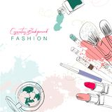 Cosmetics background with make up objects and watercolor spots. vector illustration