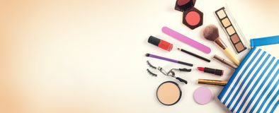 cosmetics bag with group of make up products. top view Royalty Free Stock Image