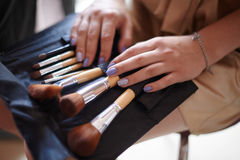 Cosmetics bag with set of brushes for makeup royalty free stock photo