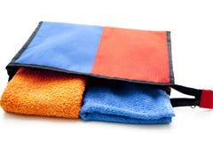 Cosmetics bag with towel Stock Photos